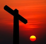 cross at sunse
